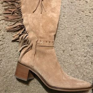 Bronx Tan Suede Leather Fringe Boots